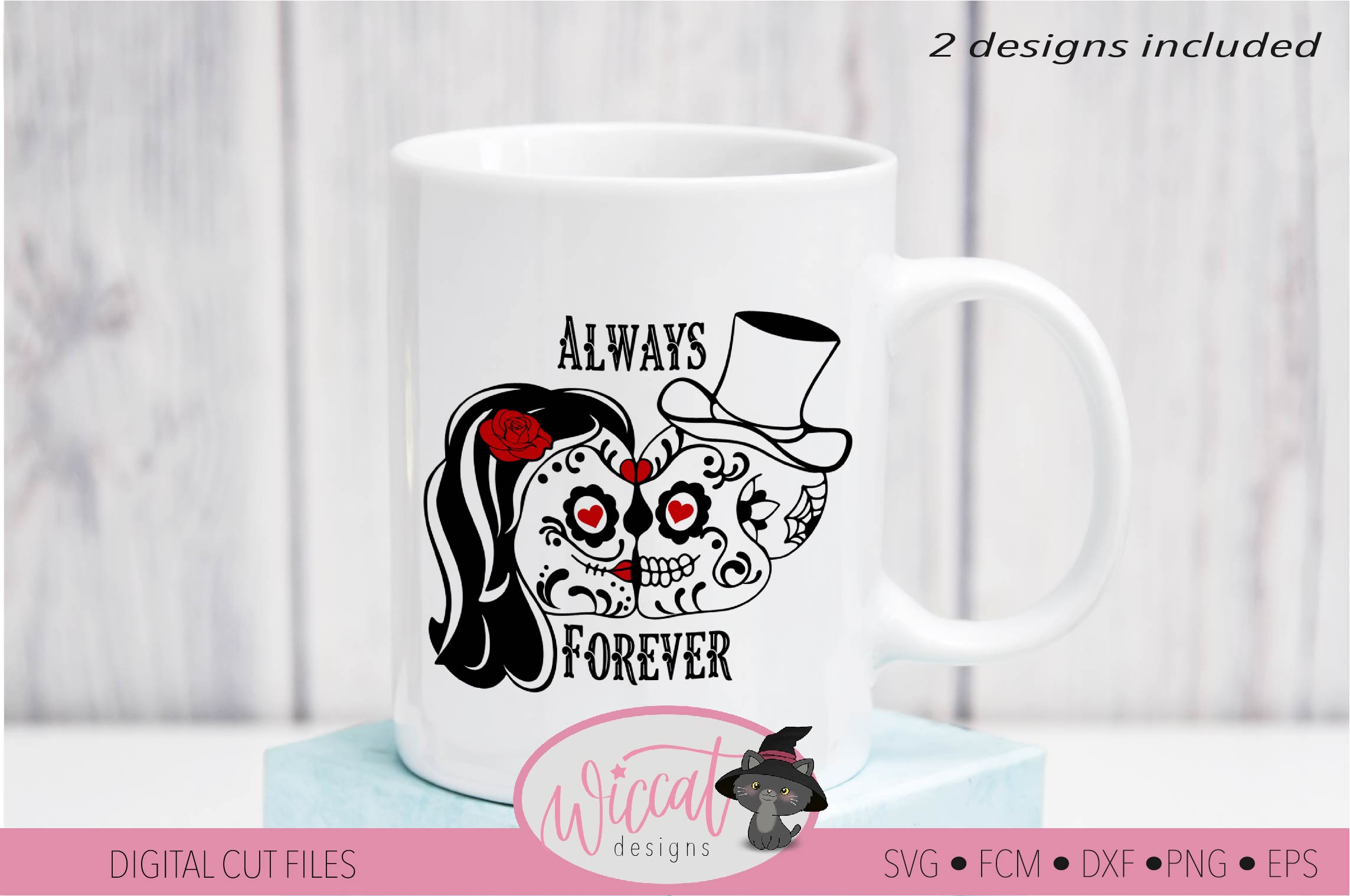 Sugar Skull valentine couple svg, forever and always example image 3