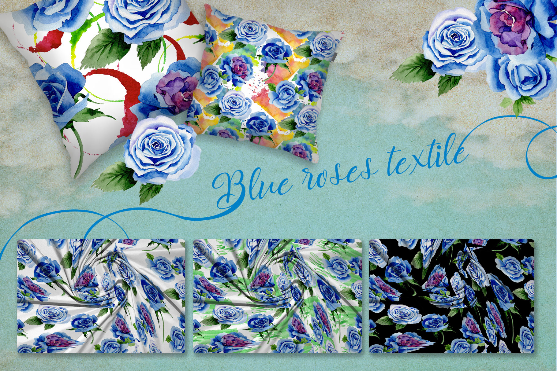 Beautiful blue roses PNG watercolor flower set example image 5