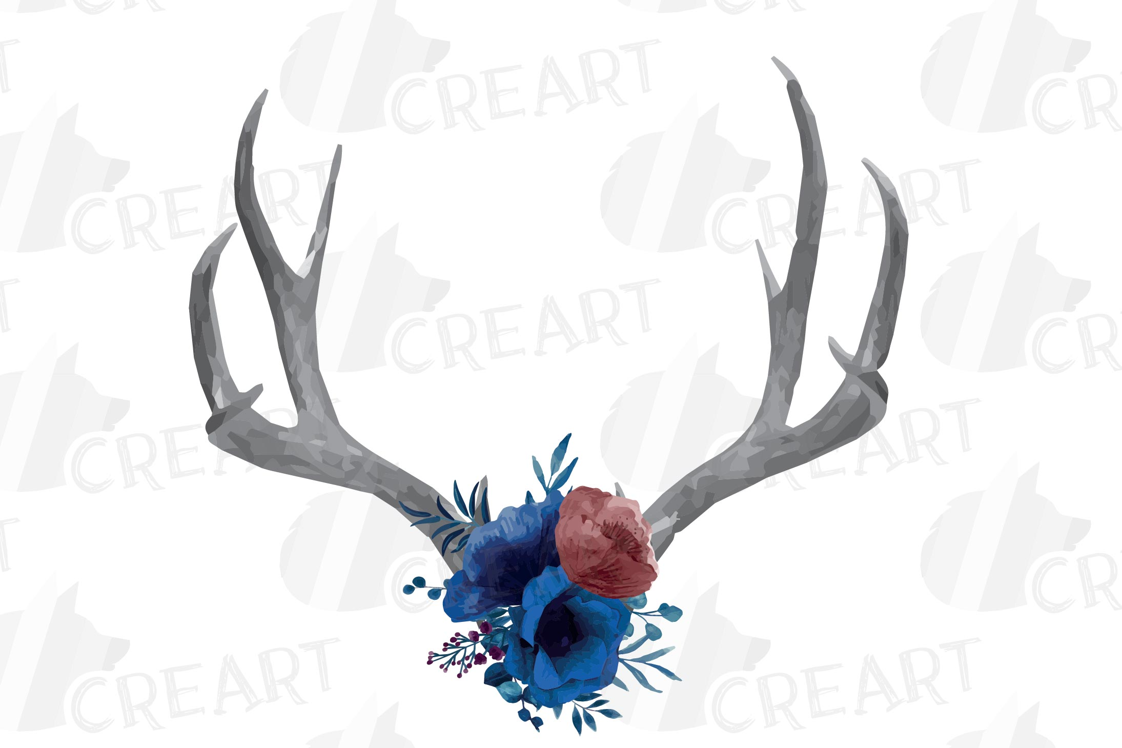 Watercolor navy blue floral deer horn decor clip art, India example image 2