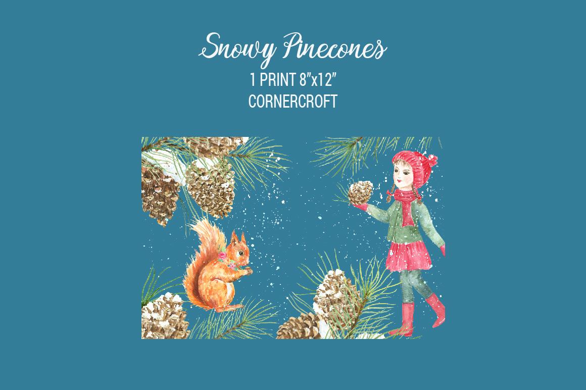 Snowy Pine Cones Watercolor Clipart example image 3