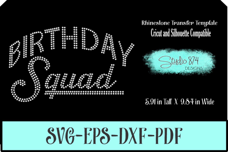Birthday Squad - Rhinestone SVG Template example image 1