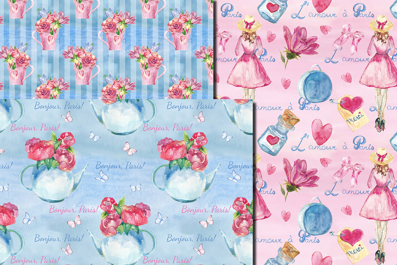 Watercolor Bonjour Paris seamless digital paper pack example image 4