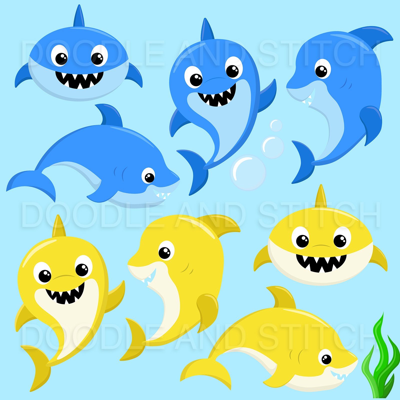 Shark Family Clipart Designs example image 2