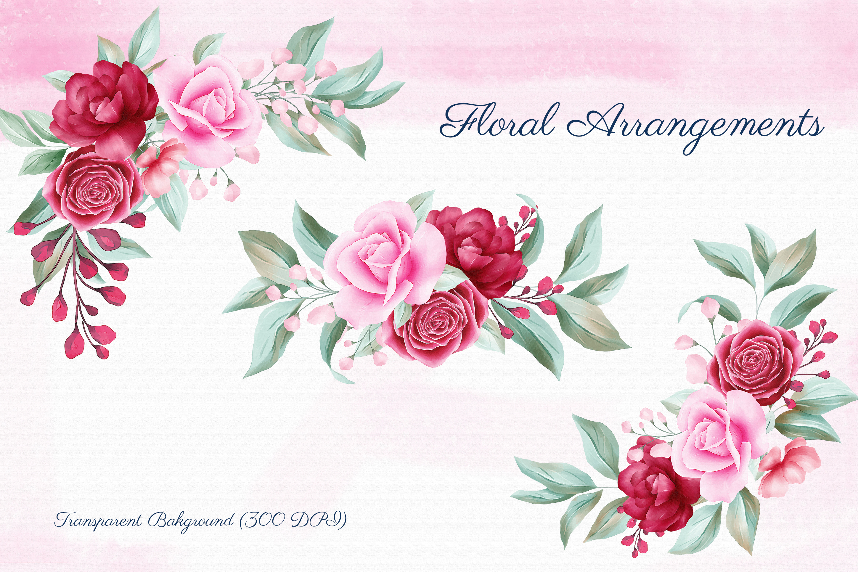 Romantic Watercolor Flowers Collection Bundle example image 5
