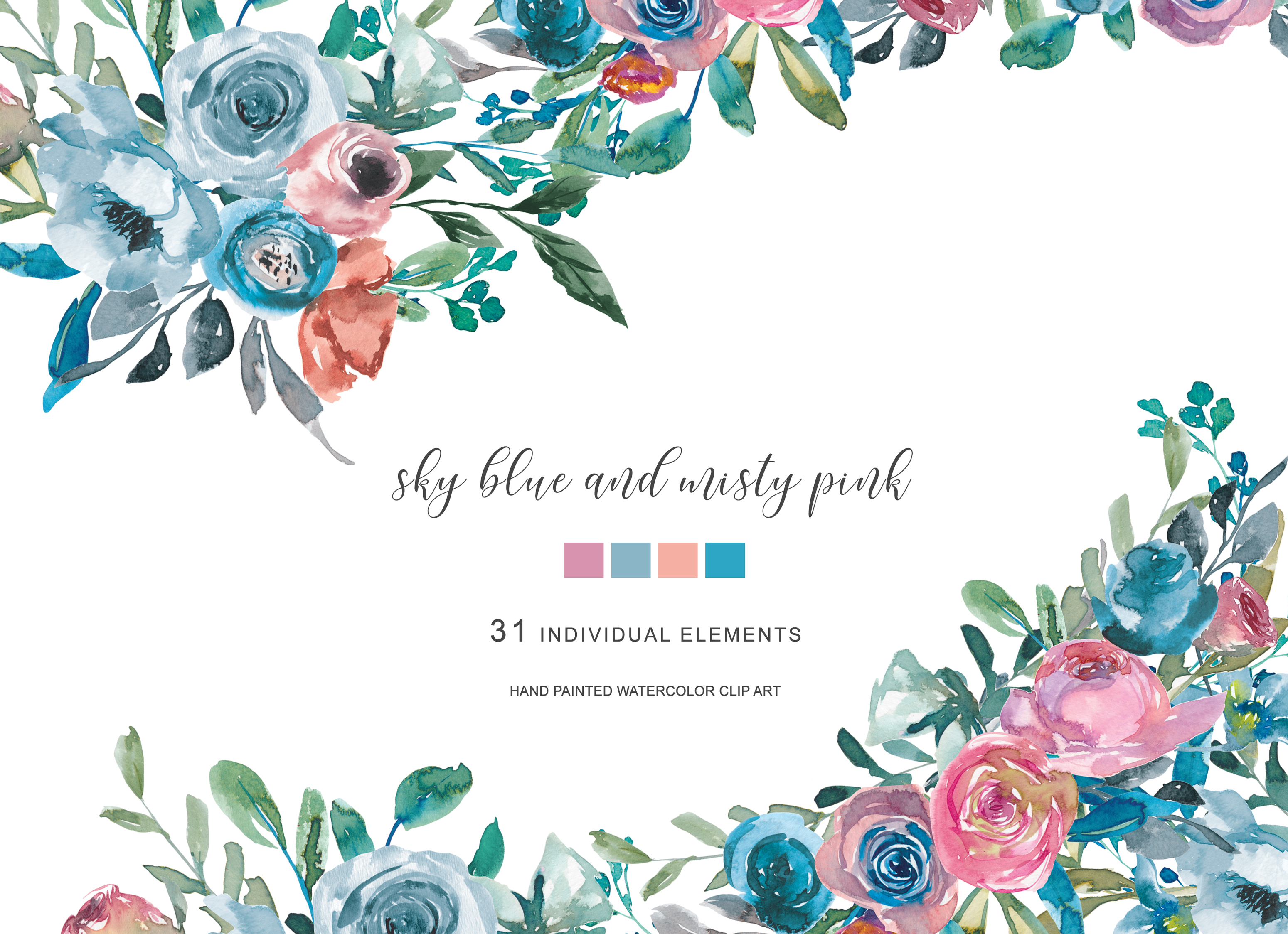 Watercolor Sky Blue Misty Pink Flowers Clipart