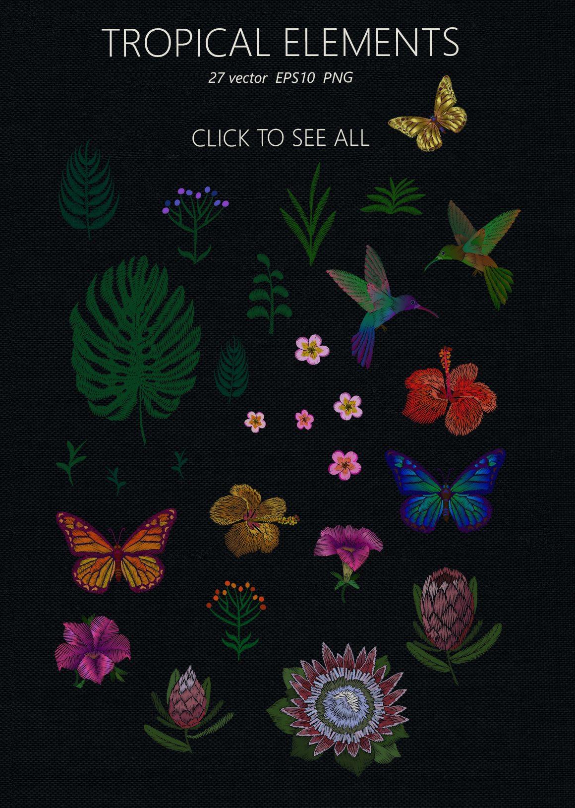 Exotic Holiday Vector Embroidery Print Set example image 4