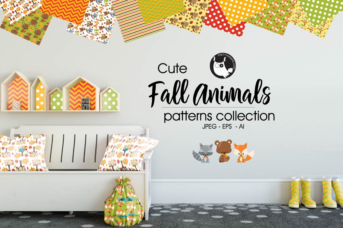 Fall Animals, digital papers example image 1