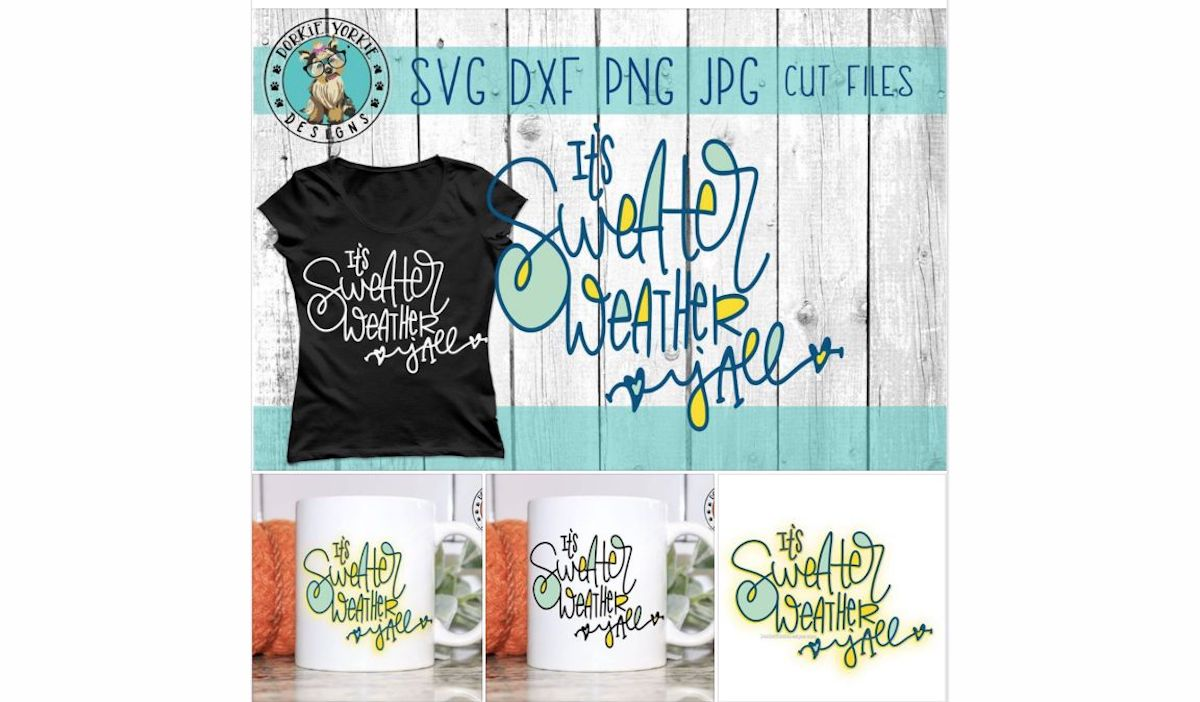 It's Sweater Weather Y'all Hand lettered - SVG Cut File example image 4