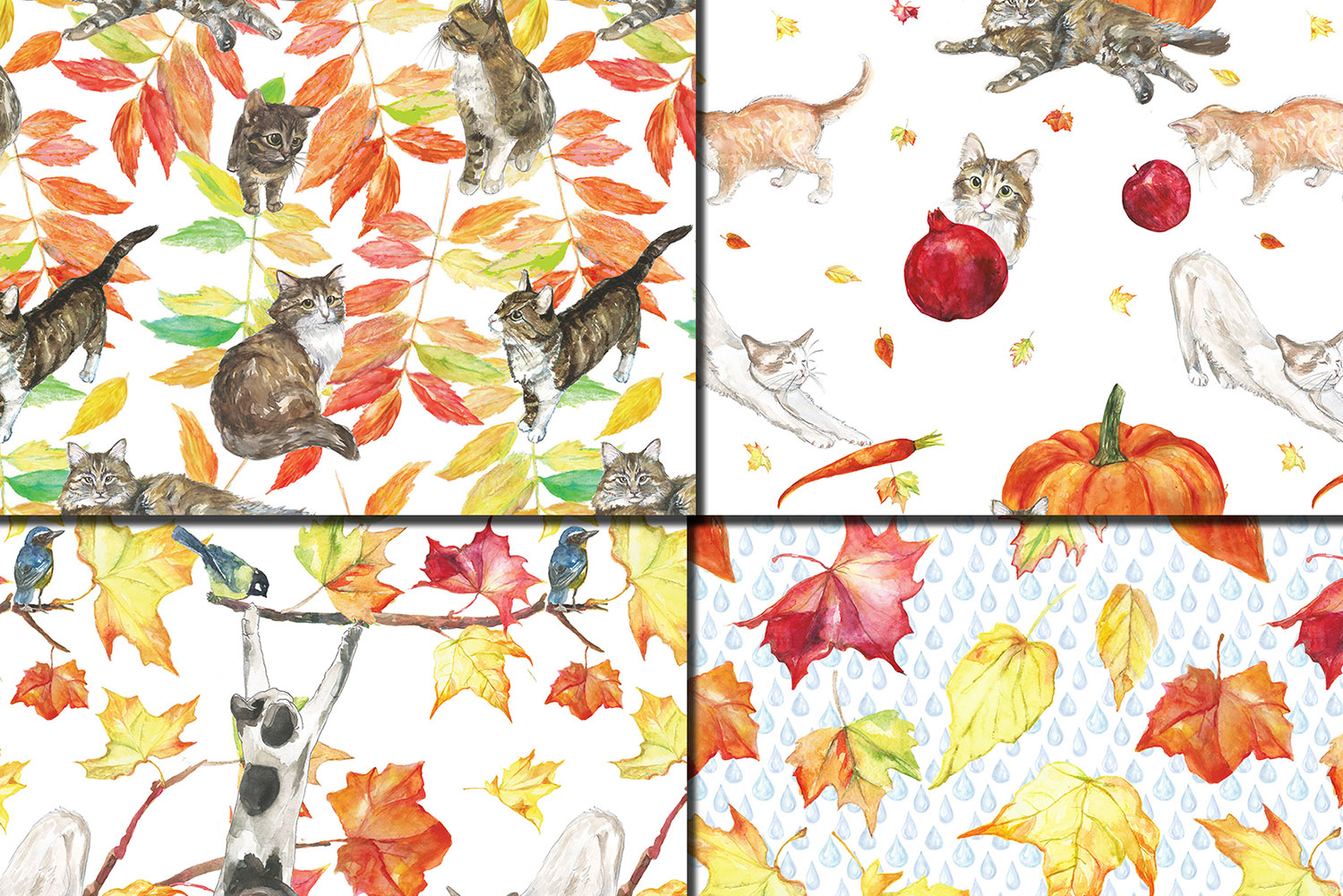 Watercolor Autumn Cats seamless patterns example image 3