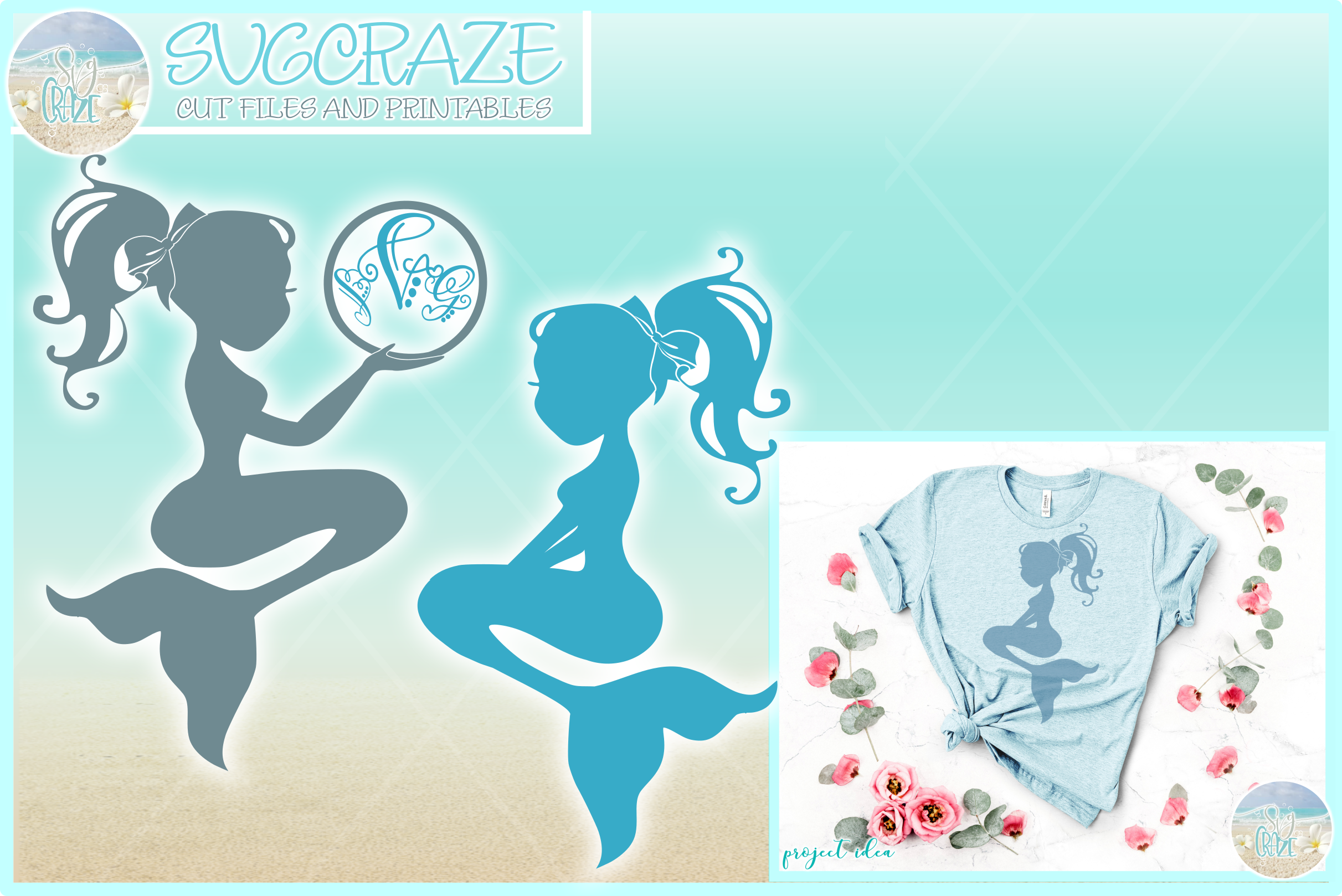 Mermaid Silhouette Monogram Svg Dxf Eps Png Pdf Files example image 1