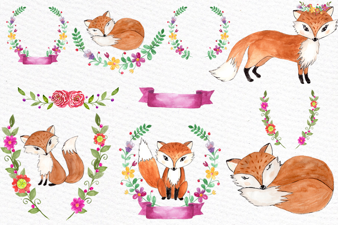 Watercolor fox clipart example image 2