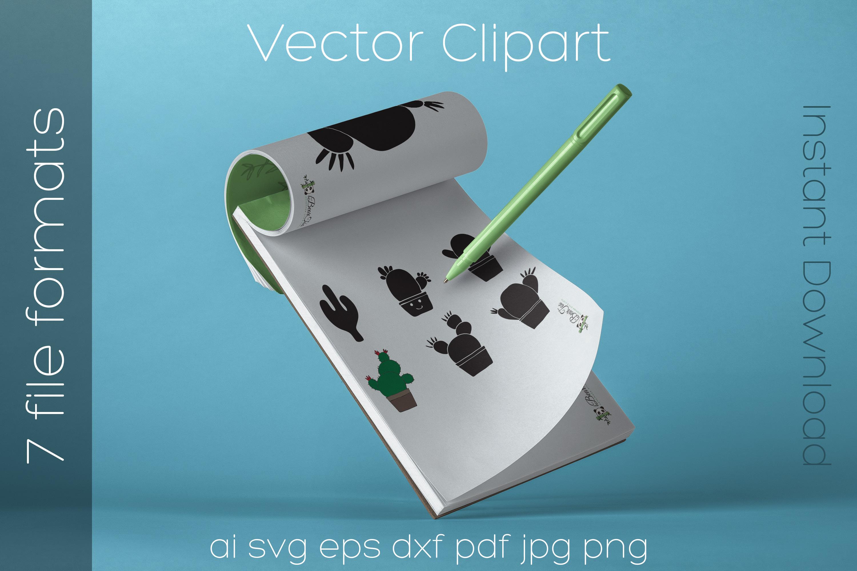Cactus SVG Bundle Clipart Succulent Drawing Vector Cut Files example image 4