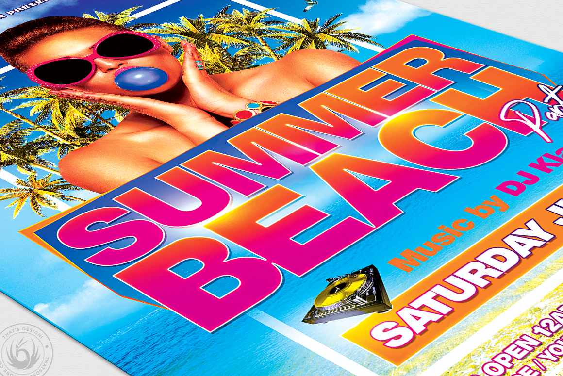 Summer Beach Flyer Template V4 example image 6