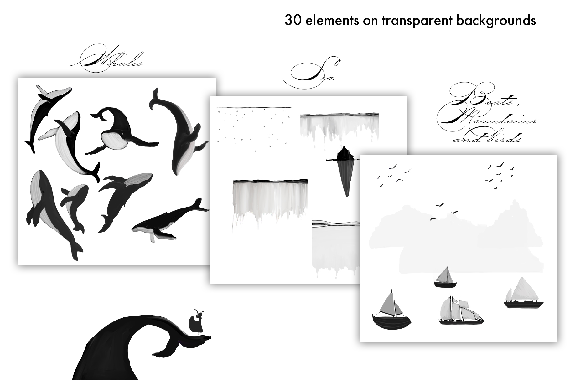Black Whales illustrations example image 2