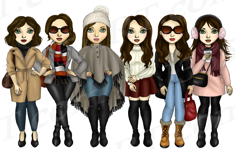 Winter Fashion Girls Brunette Hair Planner Clipart example image 2