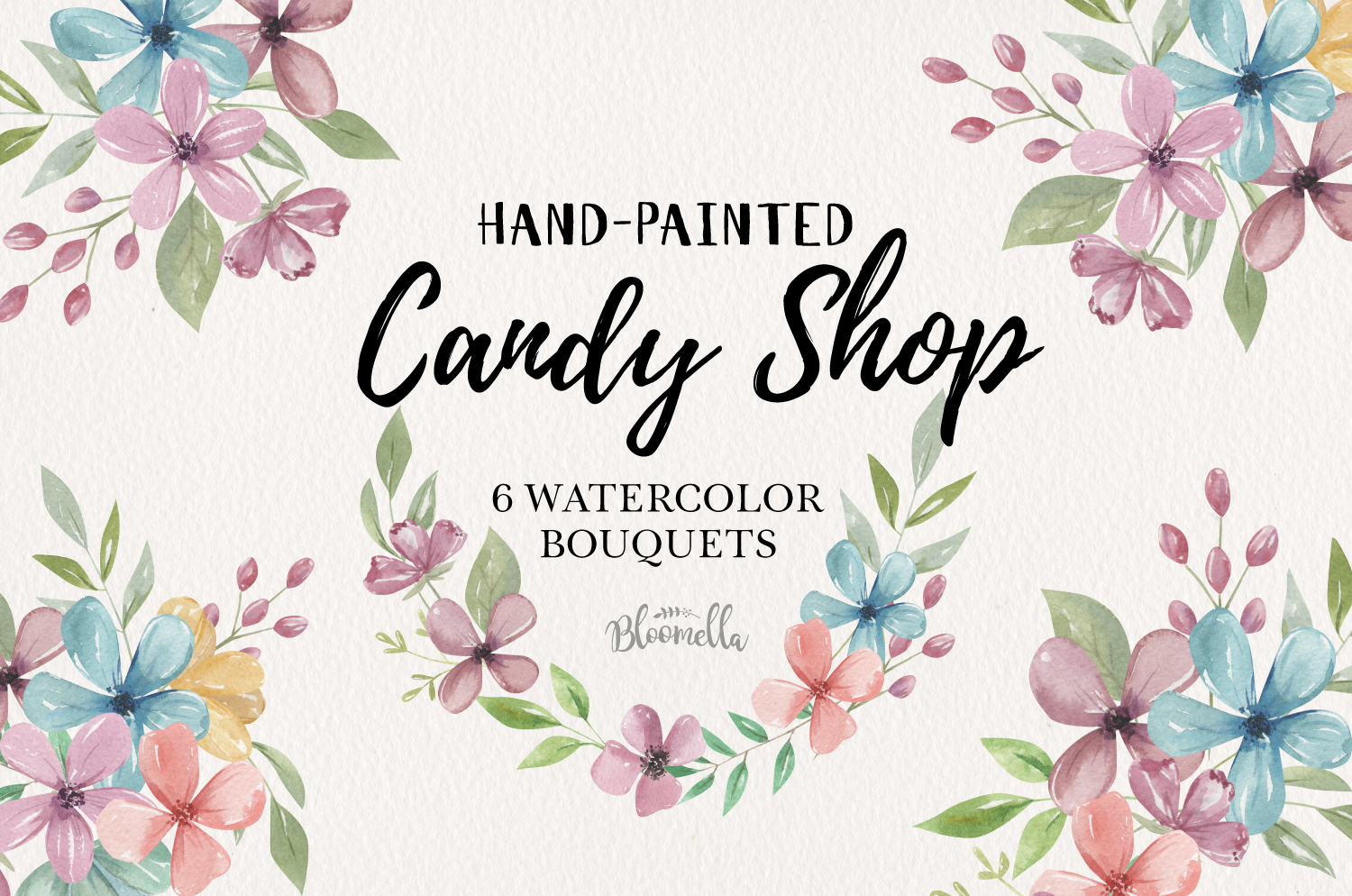 Candy Shop Florals 6 Bouquets Watercolor Wedding Leaves example image 1