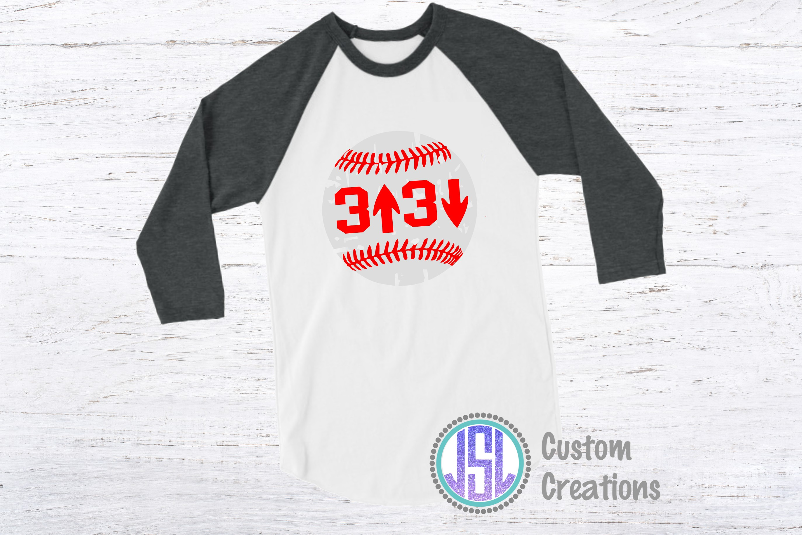 3 Up 3 Down| Baseball Design| SVG DXF EPS PNG Cut FIle example image 2
