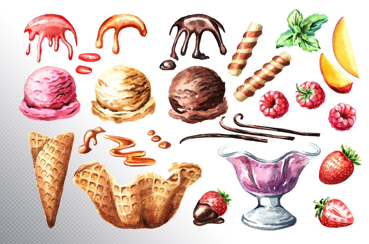 Ice cream. Watercolor collection example image 2