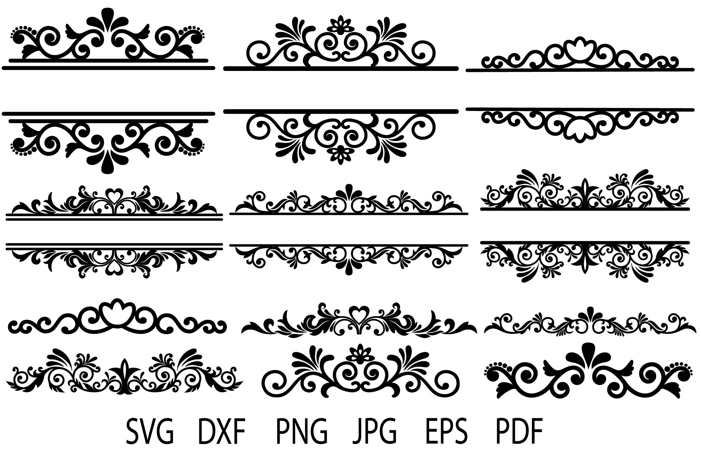 Floral Vintage Frames, Ornamental Split Frame SVG, Flourish example image 2