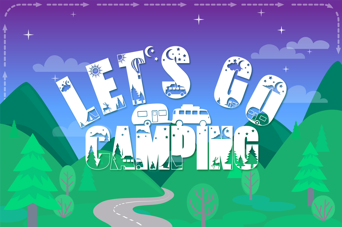 Let's Go Camping | Camping & Hiking Font with Extras example image 1