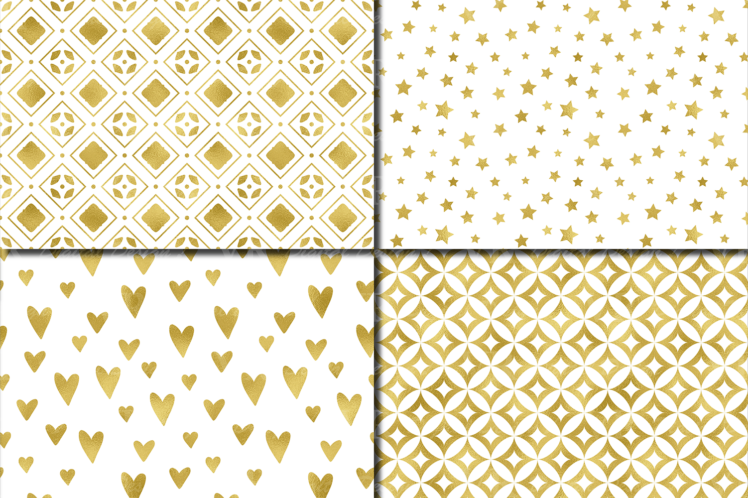 Gold foil seamless geometric patterns / Gold digital paper example image 2