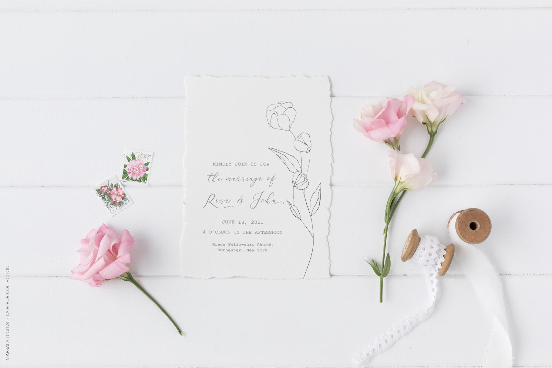 Floral Pencil Sketches Line Art - La fleur example image 8