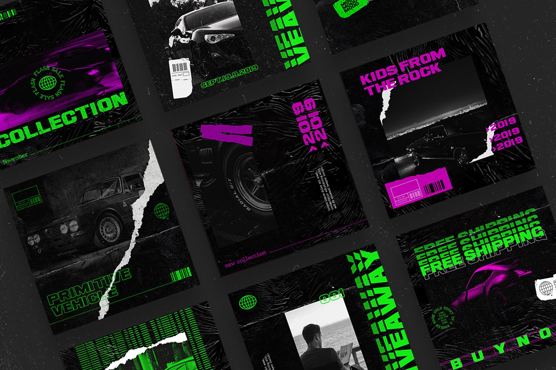 Neon Instagram Templates example image 7