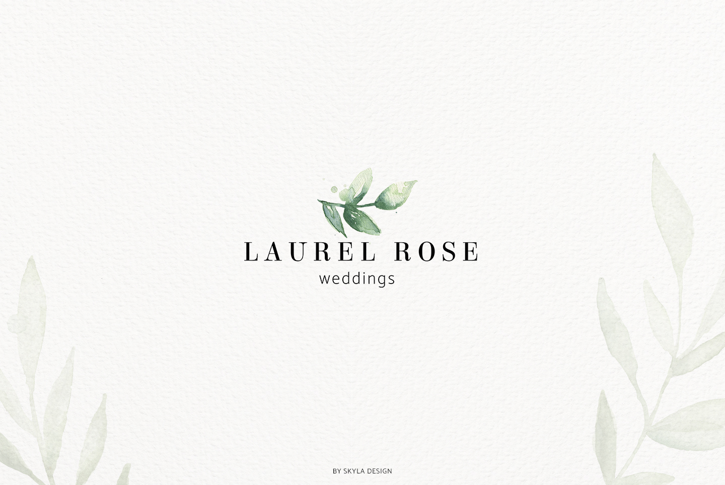 Premade Logo bundle watercolor greenery templates example image 7