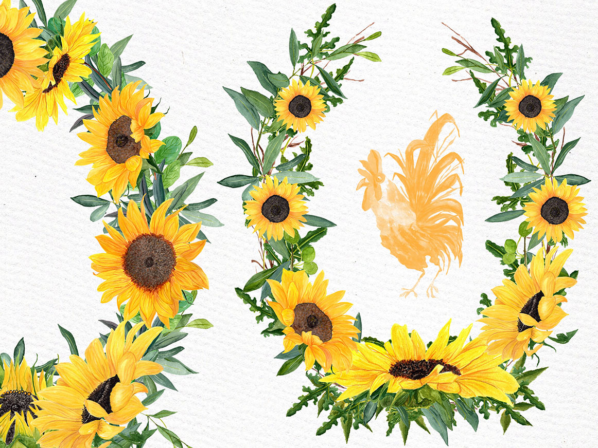 Sunflower clipart Watercolor Wreath (27796 ...