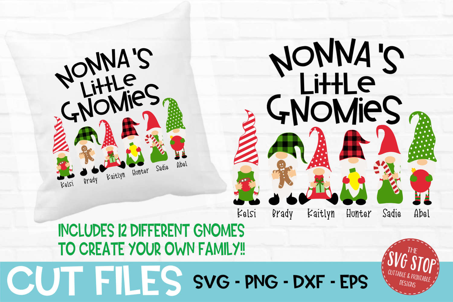 Nonna's Little Gnomies Christmas SVG, PNG, DXF, EPS example image 1