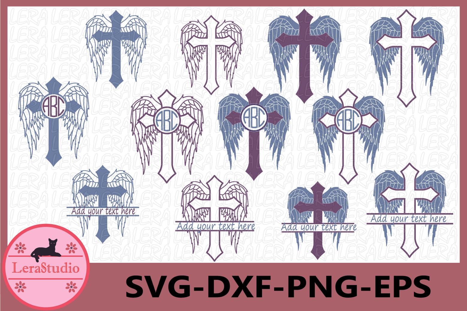 Cross SVG, Cross Monogram SVG, Cross with Wings Svg,Memorial example image 1
