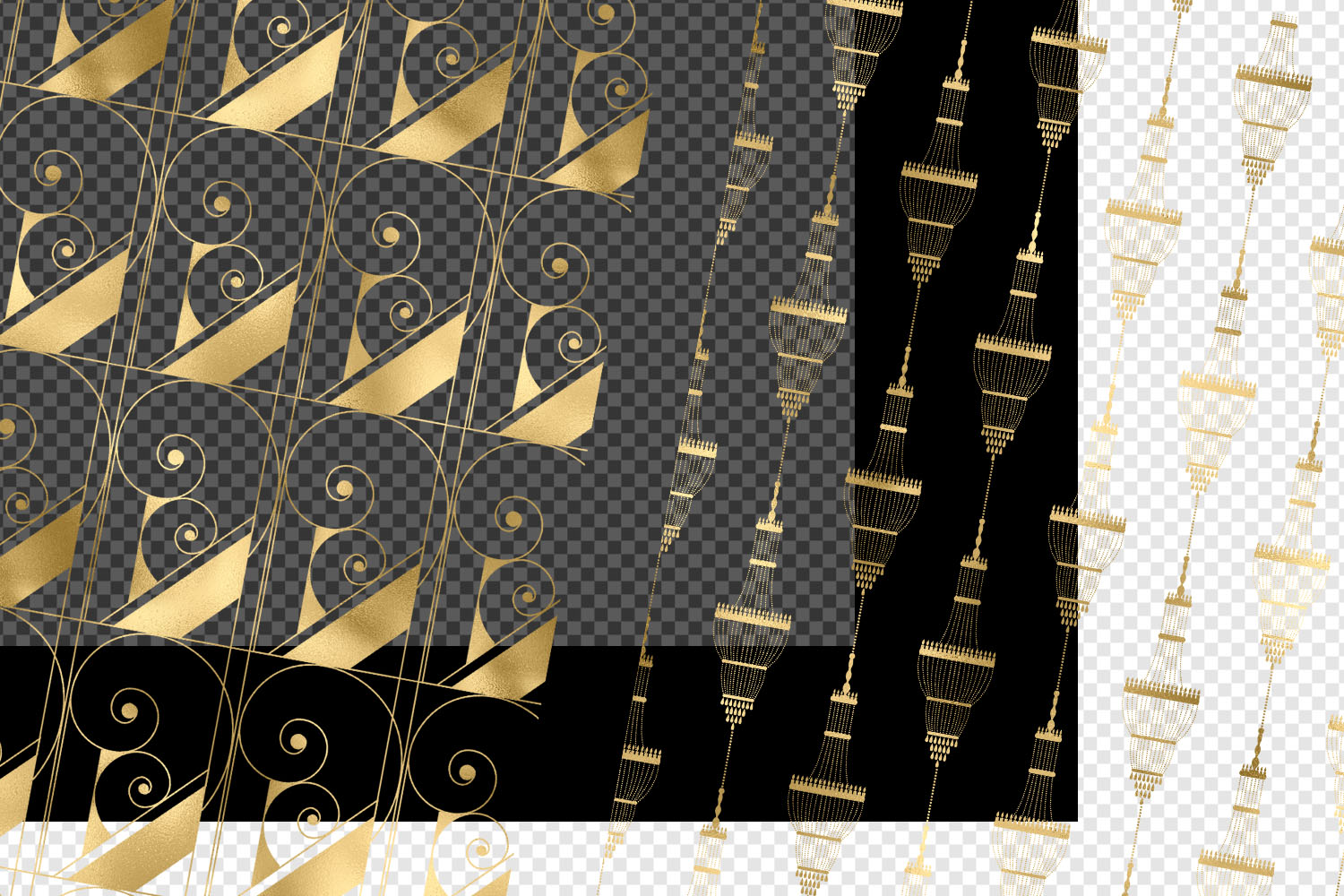 Gold Art Deco Pattern Overlays example image 3