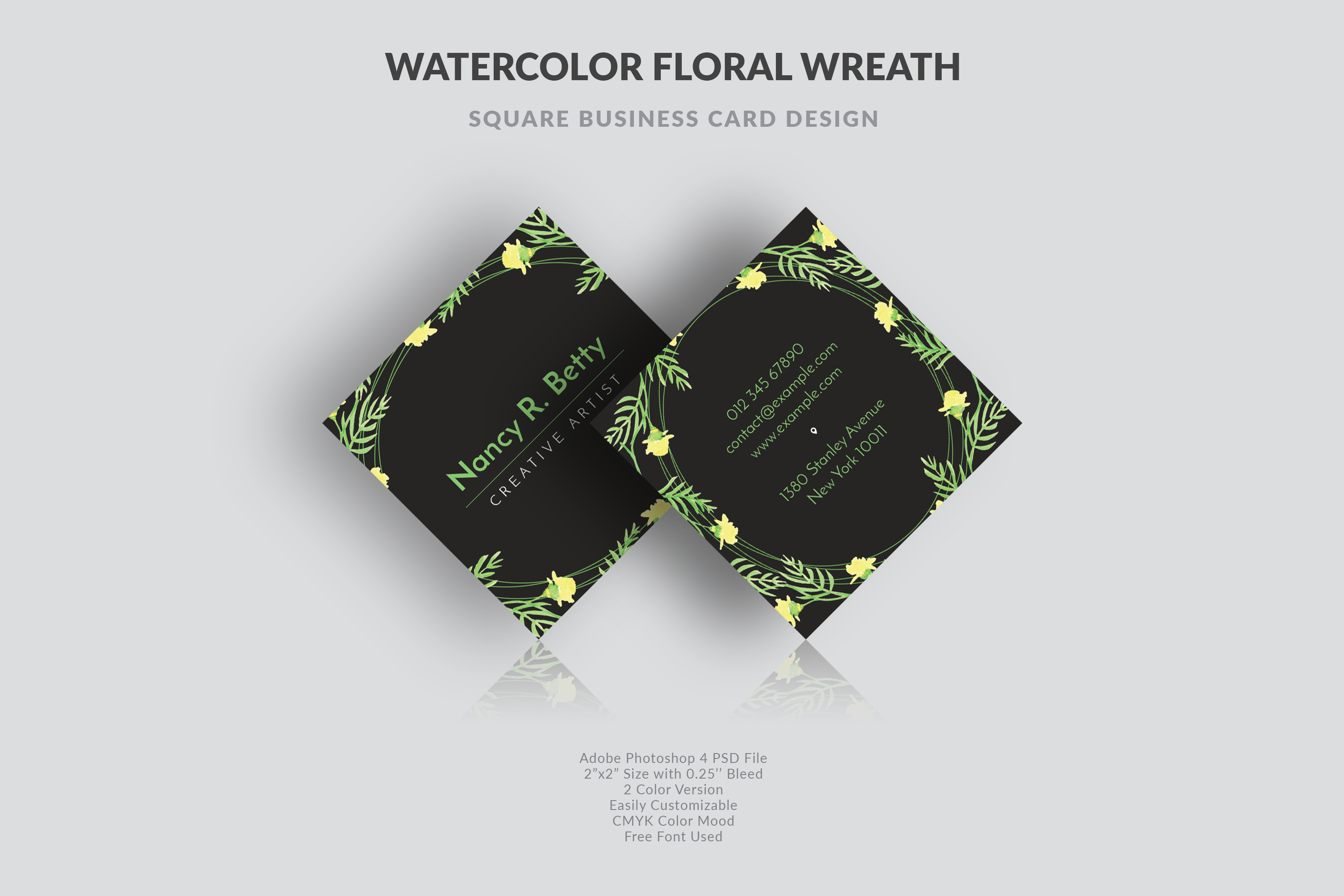 Floral Square Business Card example image 3
