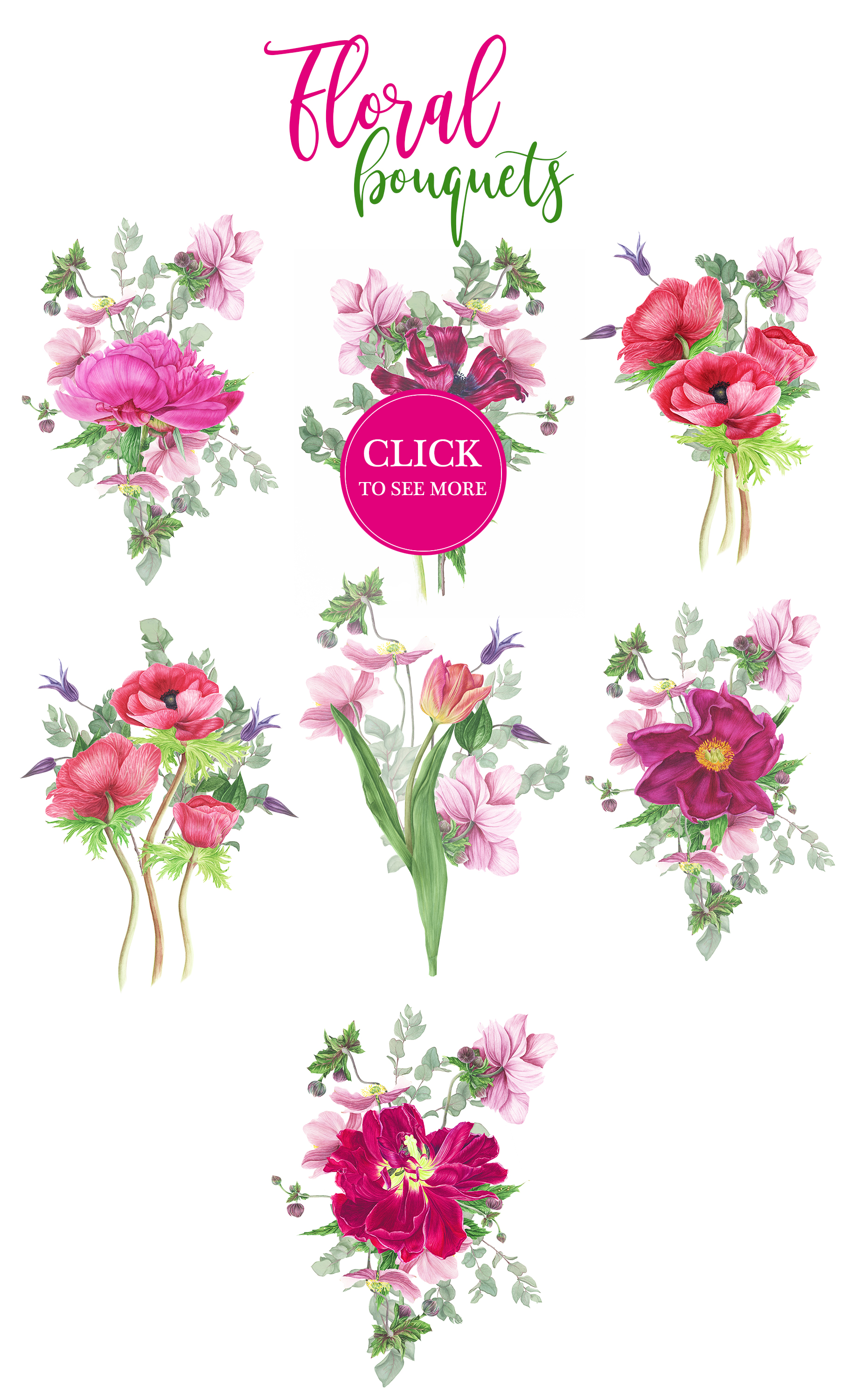 Watercolor Pink flowers example image 4