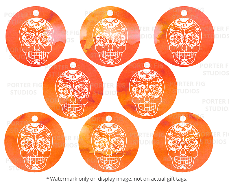 graphic relating to Printable Halloween Tags identify Printable Halloween Present Tags Sugar Skull Working day of the Lifeless