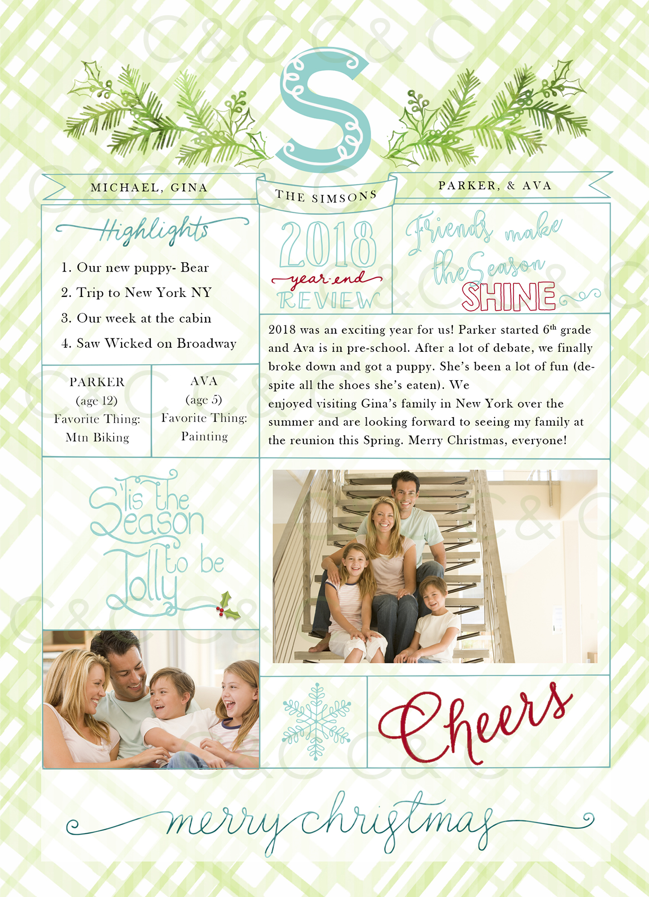 Christmas Year End Review Photo Card With Monogram 18-05 example image 4