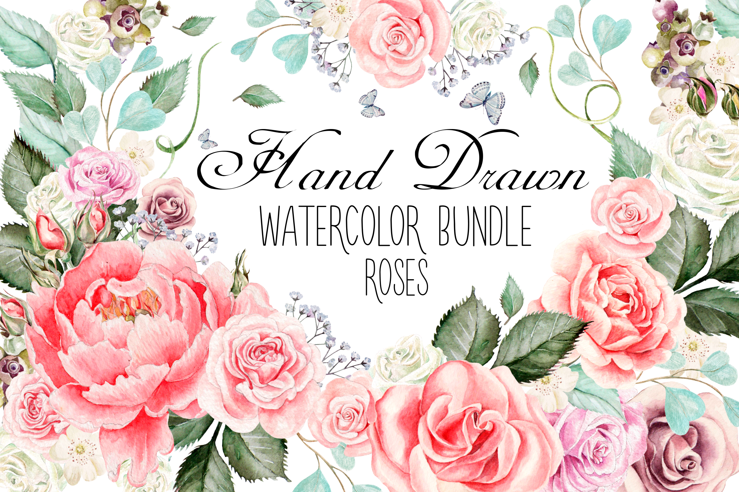 hand drawn watercolor roses bundle by k design bundles