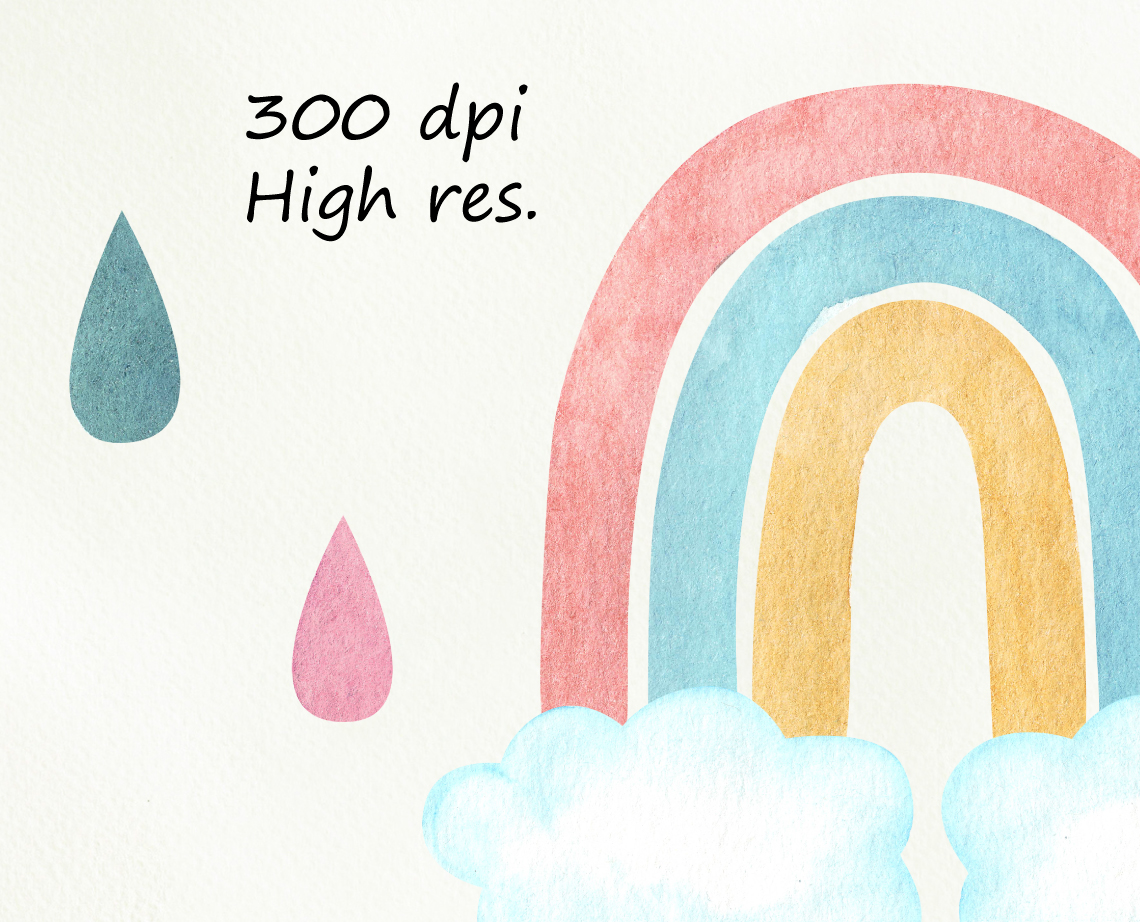 Watercolor rainbows clipart. Baby shower, nursery example image 3