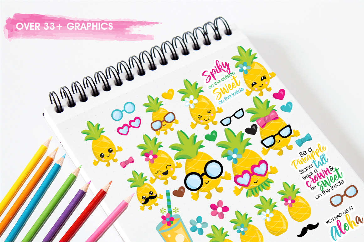 Pineapple party graphics and illustrations example image 3