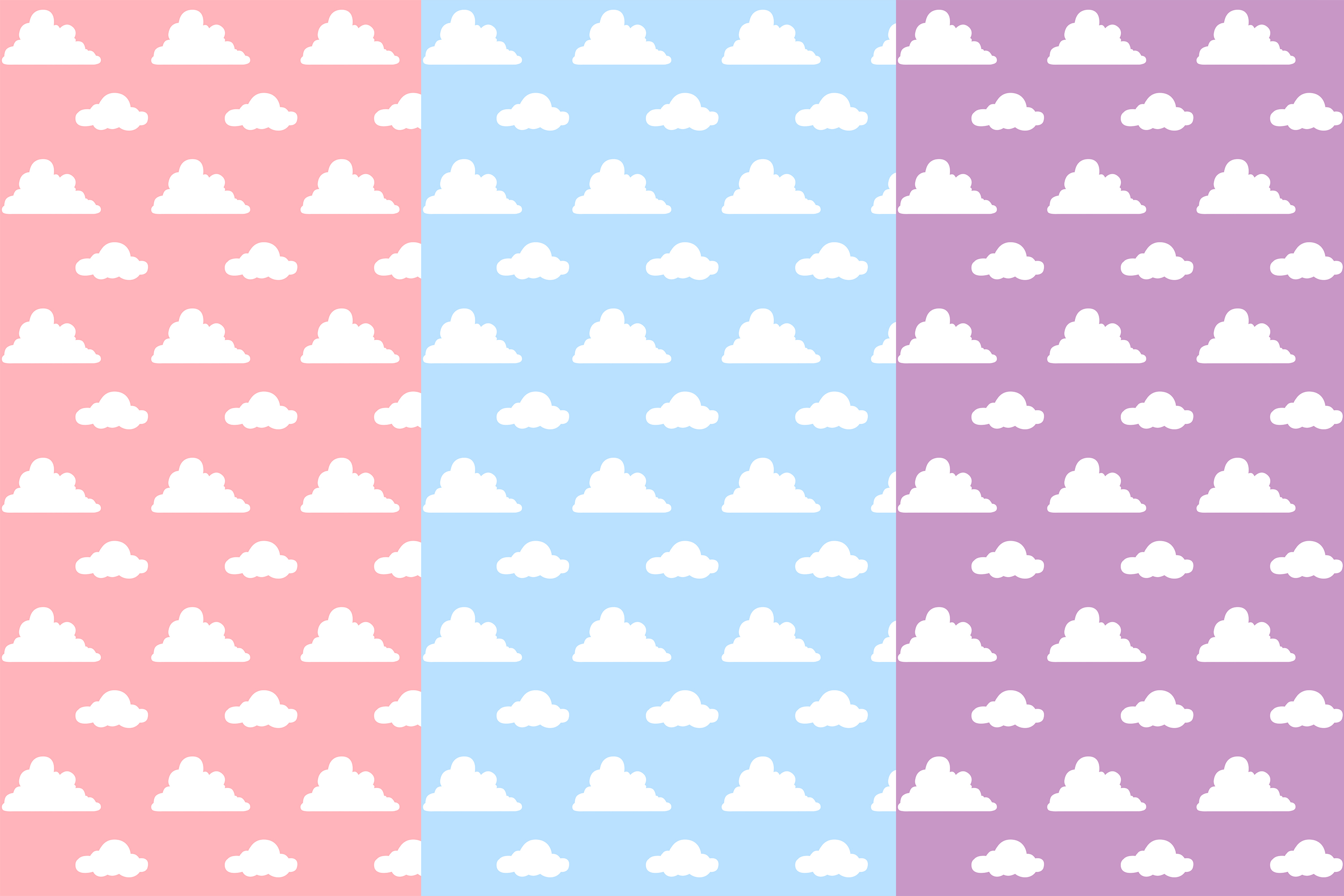 Pastel Clouds Seamless Patterns, Clouds Patterns example image 2