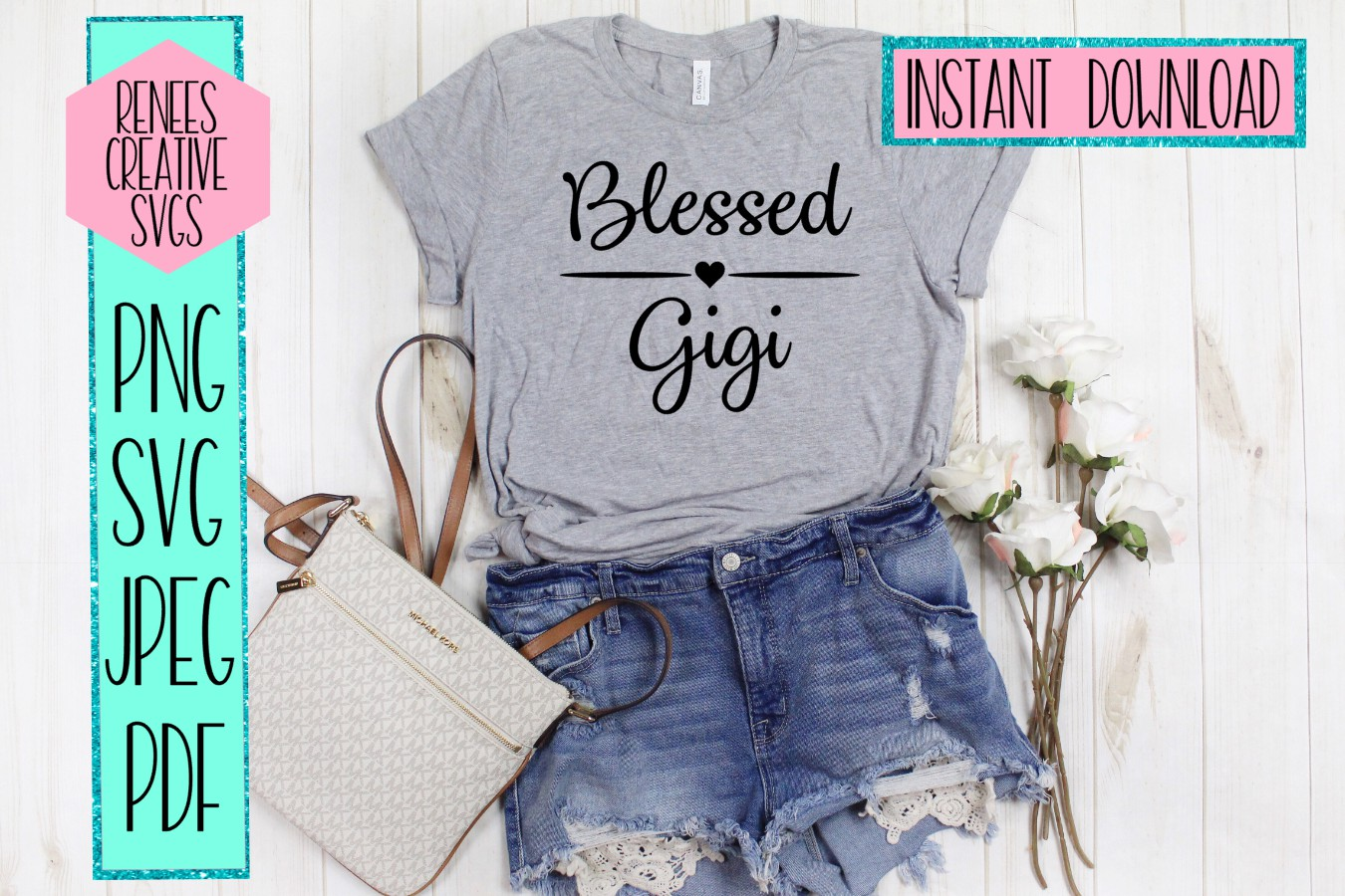 Blessed Gigi | Mothers day | SVG Cut File example image 2