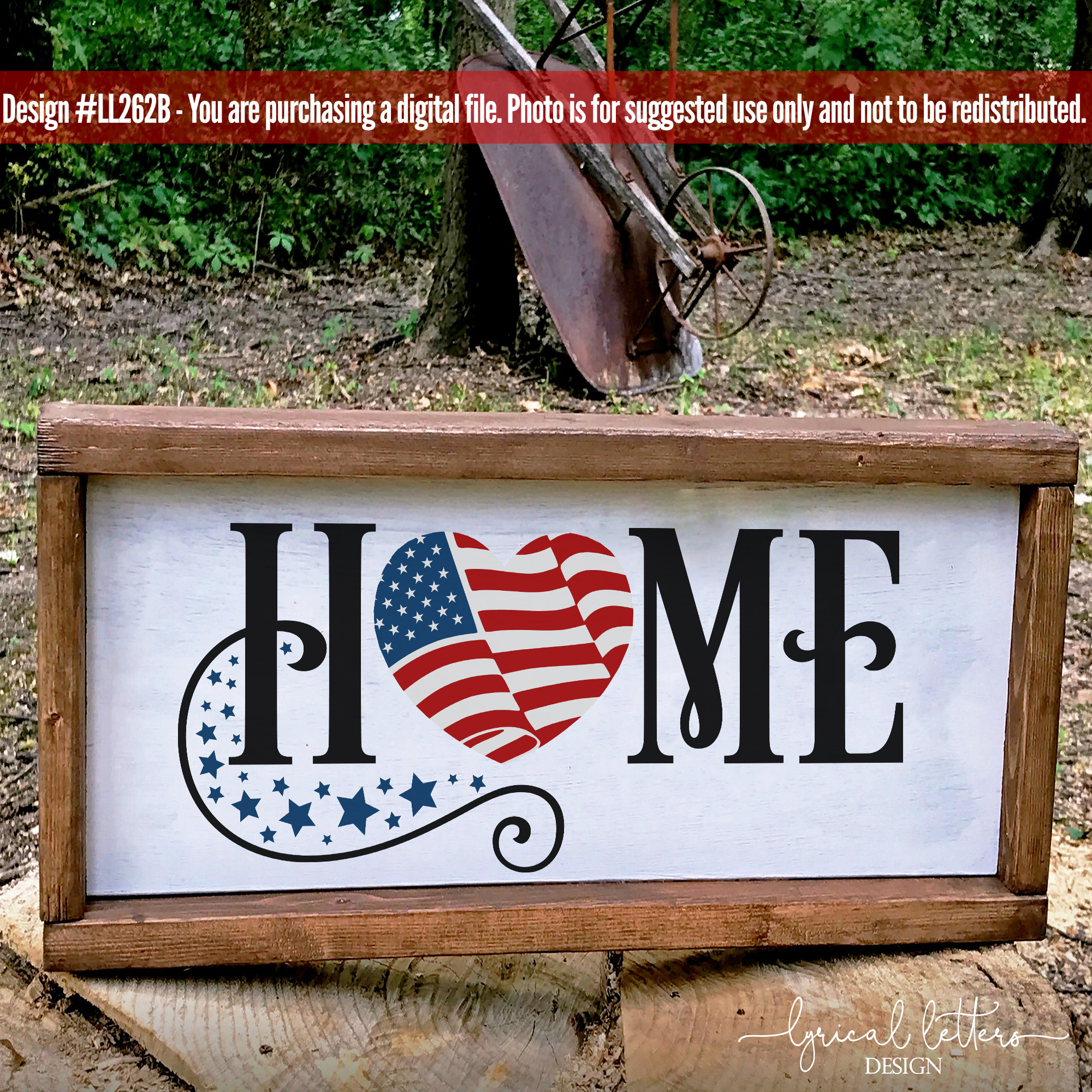 Home with American Flag Patriotic SVG DXF LL262B example image 2