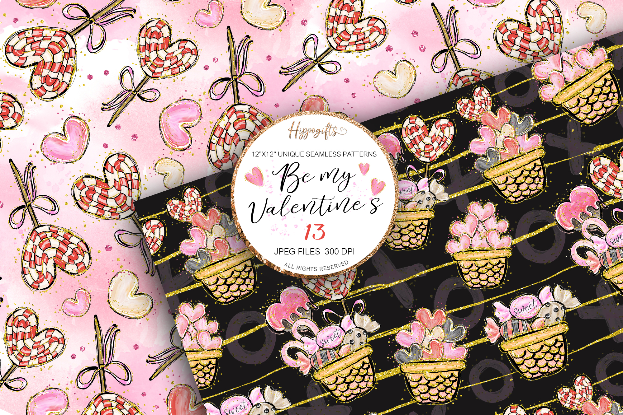 Valentine's patterns,Animal love,Love is in the air example image 3