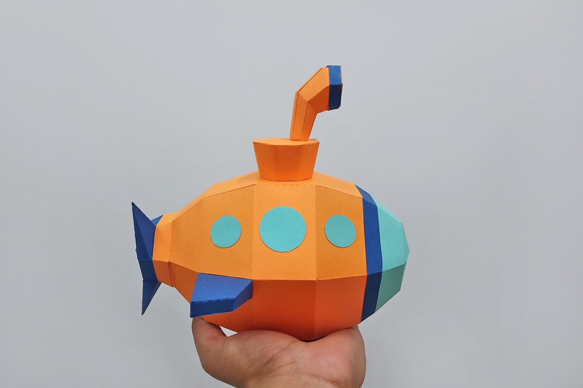 DIY Submarine papercraft ,Nursery decor,Babyshower decor example image 6