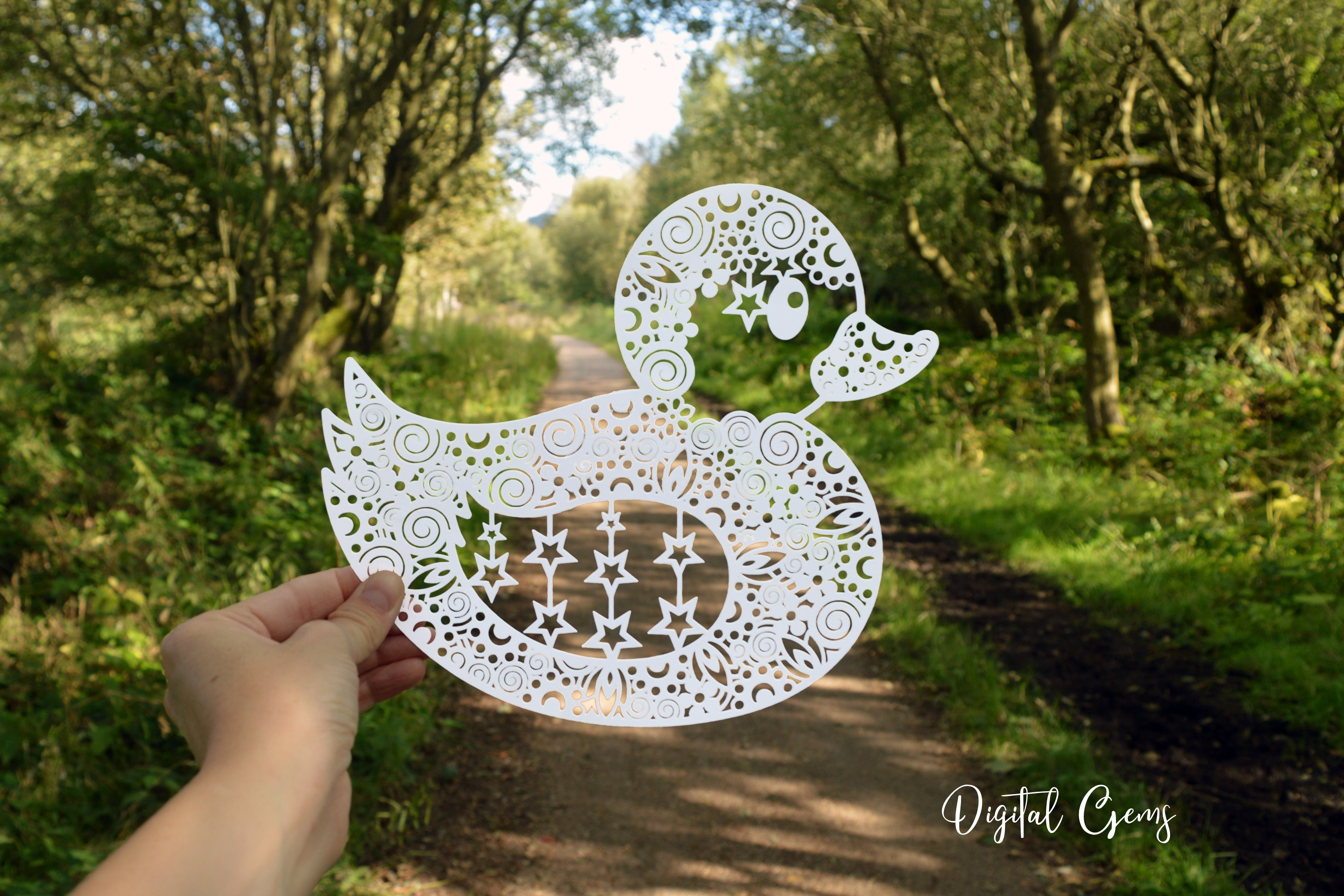 Duck paper cut design. SVG / DXF / EPS / PNG files example image 2