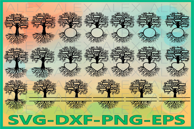 Family Tree Split SVG, Tree SVG, Tree Monogram Svg example image 1