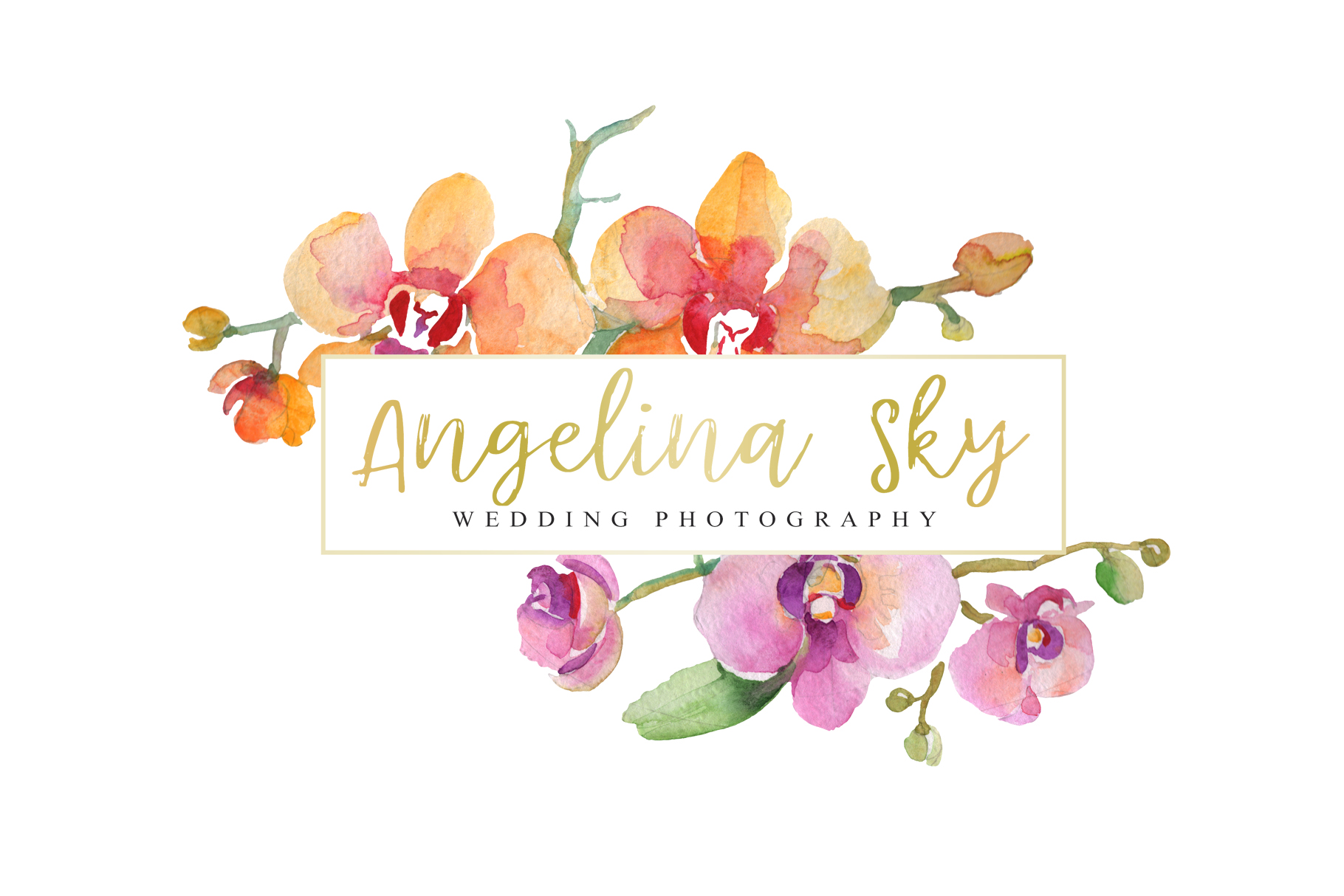 LOGO with beautiful orchids Watercolor png example image 5