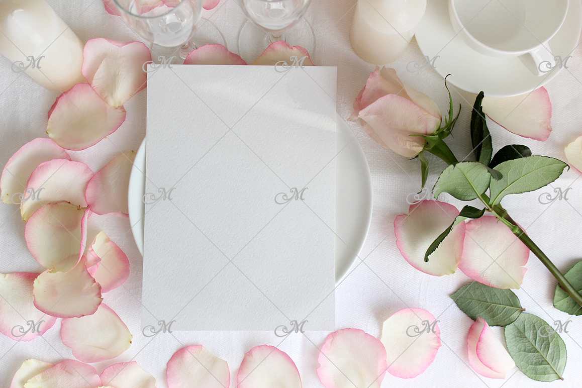 Table card Mockup with a Rose. PSD+JPG example image 3