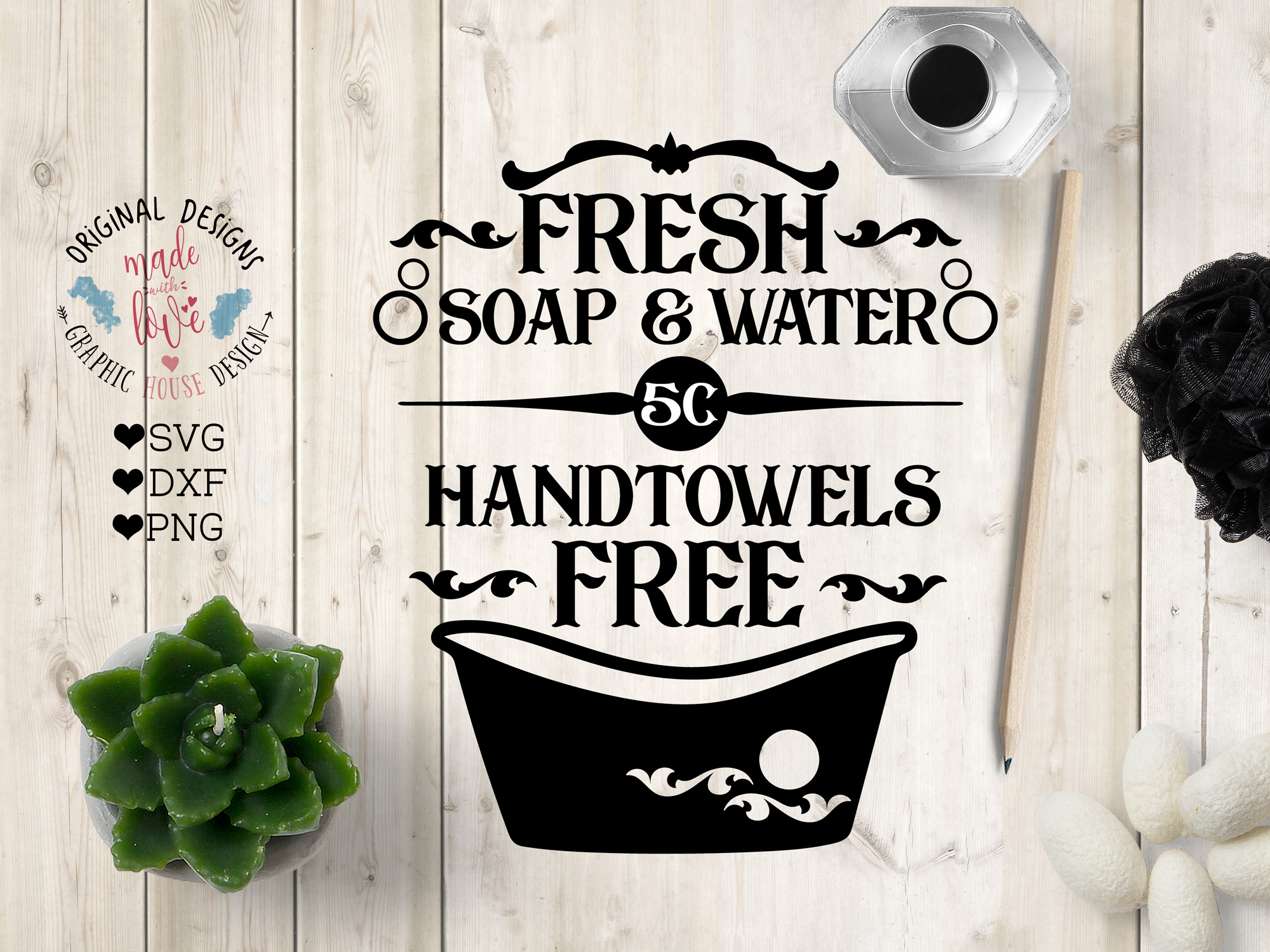 Fresh soap water Hand Towels Free Cut File in SVG, DXF, PNG example image 1