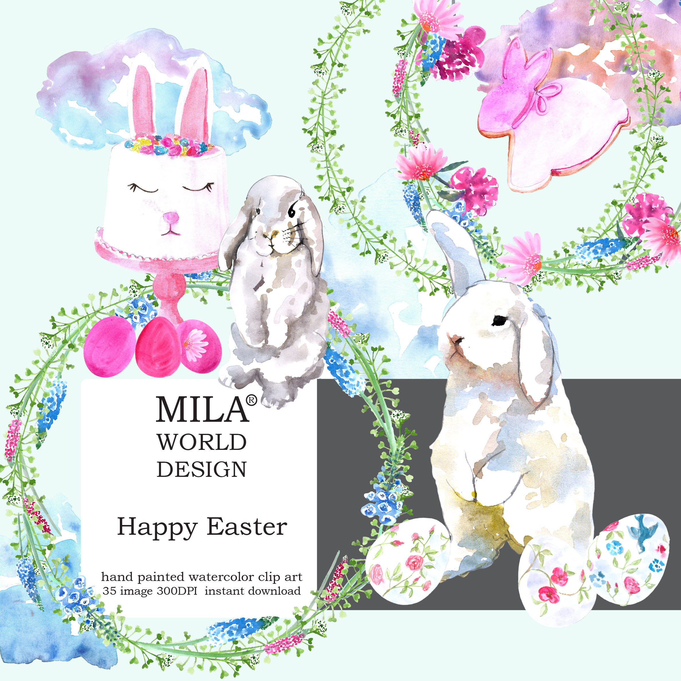 Watercolor Easter clipart example image 2